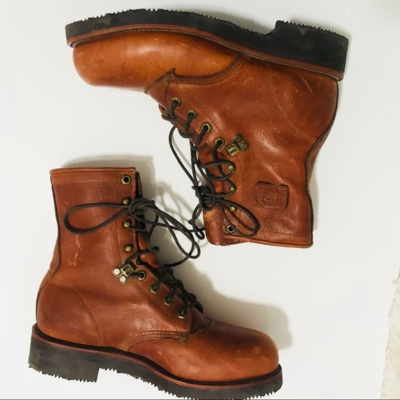 Brown Steel Toe Leather Boots Vibram 65